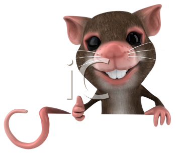 Royalty Free 3d Clipart Image of a Mouse Holding a Blank Sign Board and Giving a Thumbs Up Sign