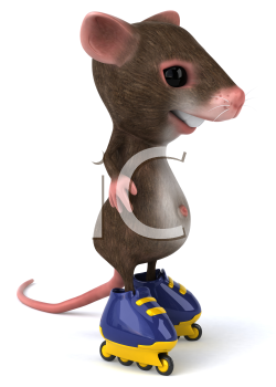 Royalty Free Clipart Image of a Mouse on Rollerblades