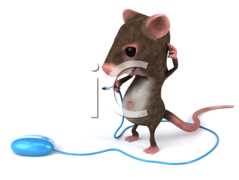 Royalty Free 3d Clipart Image of a Confused Mouse Holding the Cord of a Computer Mouse