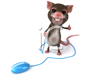 Royalty Free 3d Clipart Image of a Mouse Holding the Cord of a Computer Mouse