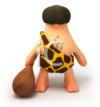 Royalty Free 3d Clipart Image of a Caveman Holding a Club