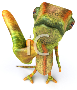 Royalty Free 3d Clipart Image of a Chameleon Giving a Thumbs Up Sign