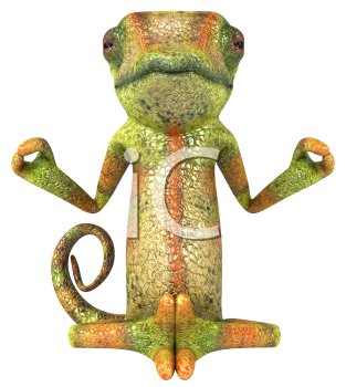 Royalty Free 3d Clipart Image of a Chameleon Meditating