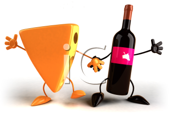 Royalty Free 3d Clipart Image of a Block of Cheese and Wine