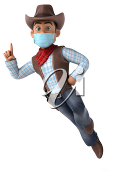 3D illustration of a cartoon character with a mask