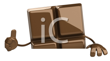 Royalty Free Clipart Image of a Piece of Chocolate Giving a Thumbs Up