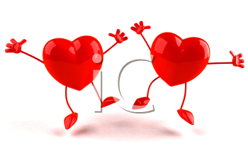 Royalty Free 3d Clipart Image of Jumping Hearts