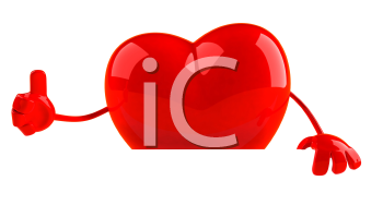Royalty Free 3d Clipart Image of a Heart Holding a Sign Board and Giving a Thumbs Up Sign