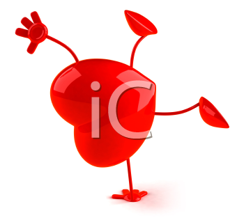 Royalty Free 3d Clipart Image of a Heart Doing a Handstand