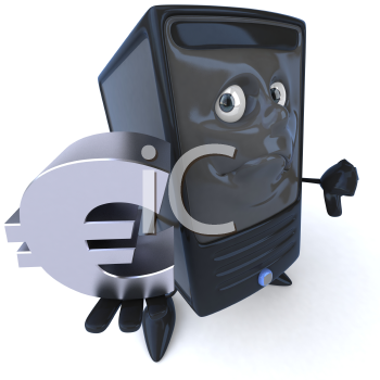 Royalty Free 3d Clipart Image of a Computer Holding a Large Euro Sign