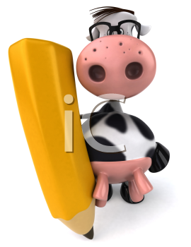 Royalty Free Clipart Image of a Holstein Cow With a Pencil
