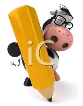 Royalty Free Clipart Image of a Holstein Cow Using a Pencil