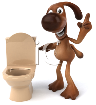 Royalty Free 3d Clipart Image of a Dog Looking at a Toilet