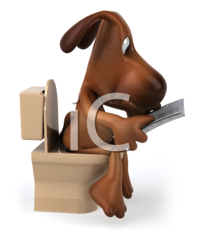 Royalty Free Clipart Image of a Dog Sitting on the Toilet While Reading a Newspaper