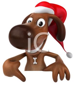 Royalty Free 3d Clipart Image of a Dog Pointing at a Sign Board