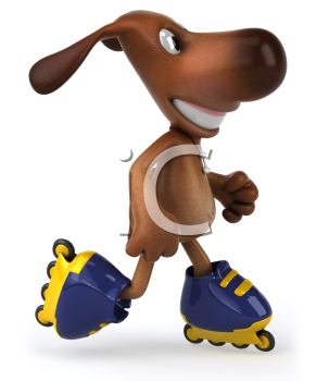 Royalty Free Clipart Image of a Dog on Rollerblades