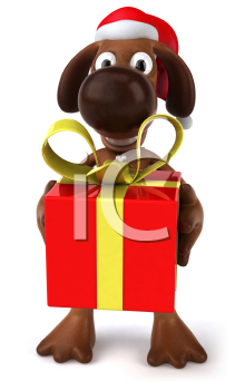 Royalty Free 3d Clipart Image of a Dog Wearing a Santa Hat and Holding a Gift