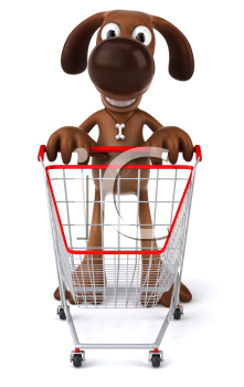 Royalty Free 3d Clipart Image of a Dog Pushing a Shopping Cart