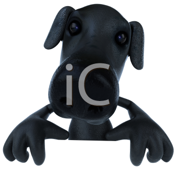 Royalty Free 3d Clipart Image of a Black Dog Holding a Sign Board