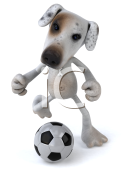 Royalty Free 3d Clipart Image of a Jack Russell Terrier Dog Kicking a Soccer Ball