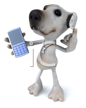 Royalty Free Clipart Image of a Jack Russell Using a Cellphone