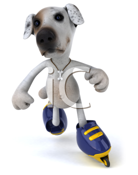 Royalty Free Clipart Image of a Jack Russell on Rollerblades