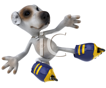 Royalty Free Clipart Image of a Jack Russell Doing Tricks on Rollerblades