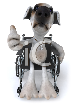 Royalty Free Clipart Image of a Jack Russell Terrier in a Wheelchair
