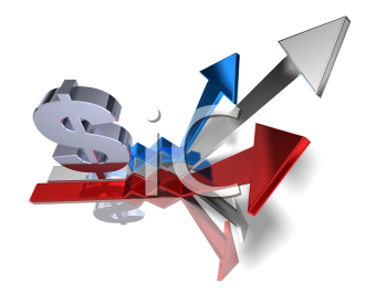 Royalty Free 3d Clipart Image of a Dollar Signs and Arrows Pointing Upwards