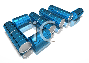 Royalty Free 3d Clipart Image of Oil Barrels Spelling the Word Oil