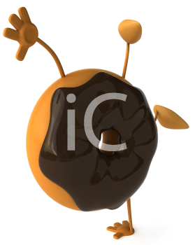 Royalty Free Clipart Image of a Doughnut of Doing a Handstand