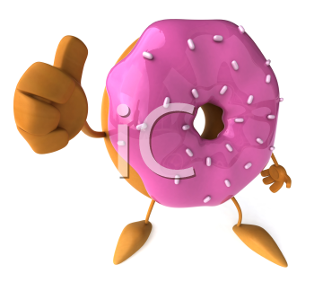 Royalty Free Clipart Image of a Doughnut With Sprinkles and Pink Icing
