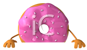 Royalty Free Clipart Image of a Pink Doughnut