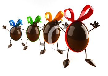 Royalty Free 3d Clipart Image of Chocolate Easter Eggs