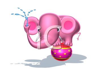 Royalty Free 3d Clipart Image of a Pink Elephant