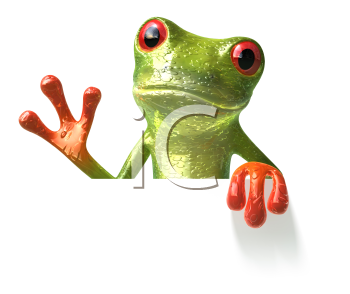 Royalty Free 3d Clipart Image of a Frog Holding a Sign Board