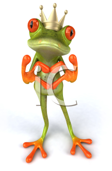 Royalty Free 3d Clipart Image of a Frog Wearing a Crown and Making a Heart Sign with His Hands
