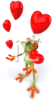 Royalty Free 3d Clipart Image of a Frog Wearing a Crown and Juggling Hearts