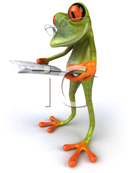 Royalty Free 3d Clipart Image of a Frog Wearing Wire Framed Eyeglasses and Reading a Book