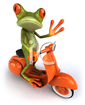 Royalty Free 3d Clipart Image of a Frog Riding a Scooter