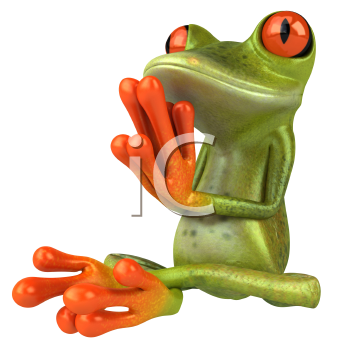 Royalty Free 3d Clipart Image of a Frog Meditating