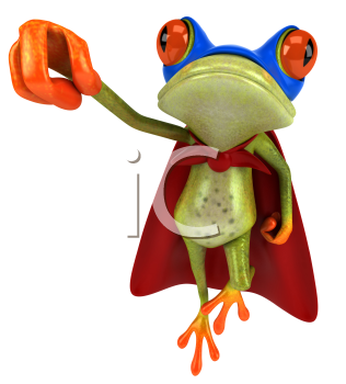 Royalty Free Clipart Image of a Superhero Frog