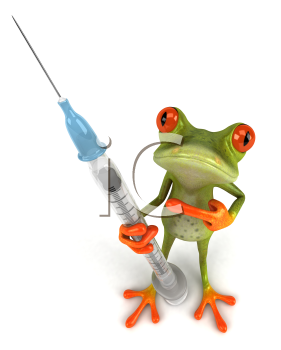 Royalty Free Clipart Image of a Frog With a Needle