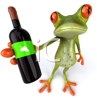 Royalty Free 3d Clipart Image of a Frog Holding a Bottle of Wine
