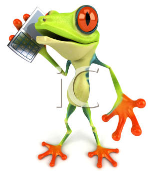 Royalty Free Clipart Image of a Frog With a Cellphone