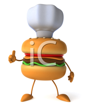 Royalty Free Clipart Image of a Hamburger Chef Giving a Thumbs Up