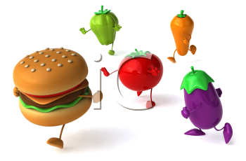Royalty Free Clipart Image of a Burger and Vegetables
