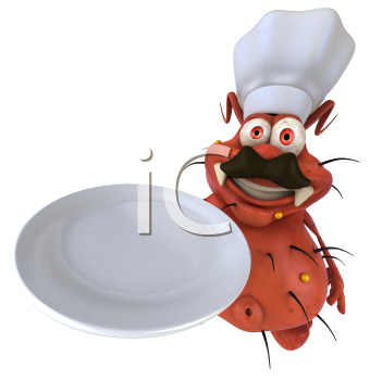 Royalty Free Clipart Image of a Germ Chef