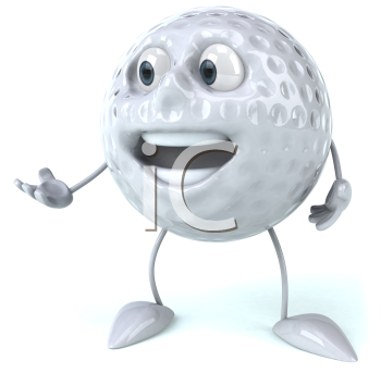 Royalty Free Clipart Image of a Golf Ball Extending Its Hand