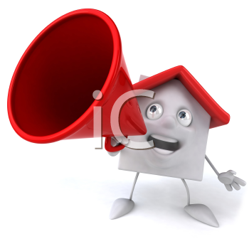 Royalty Free 3d Clipart Image of a House Yelling into a Megaphone